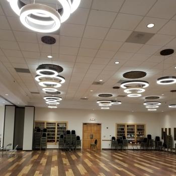 Multiple ceiling lights inside building